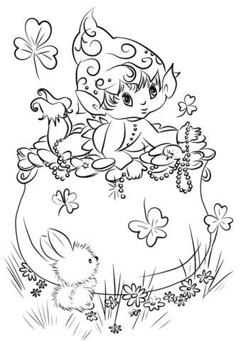 cute leprechaun   pot  gold coloring page