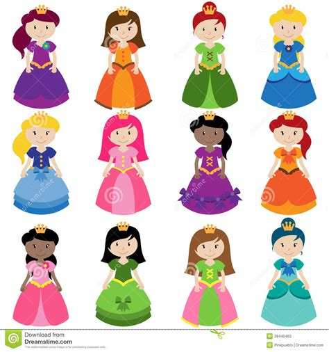 Vector Collection Of Pretty Princesses Stock Vector   Image: 38440463