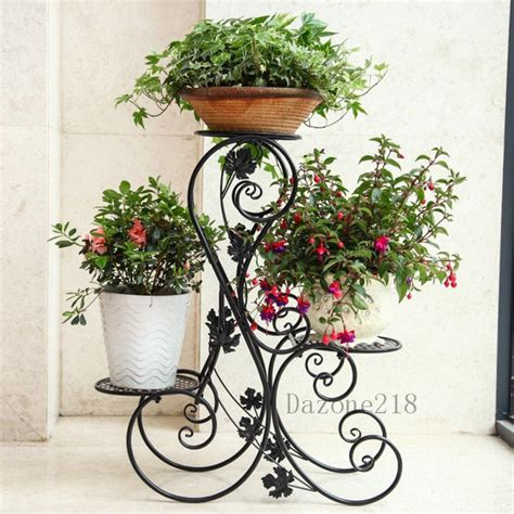 3 tier black floor standing wrought iron pot plant stand