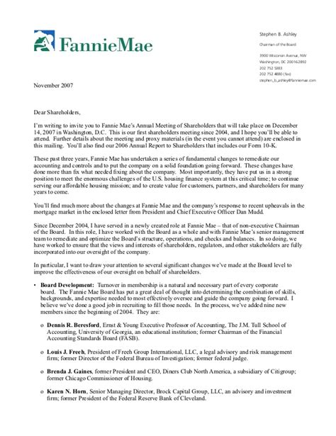 fannie mae letter   chairman   board