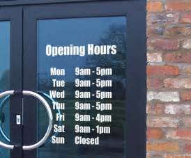 wall designer opening hours times shop custom vinyl sign sticker business signs