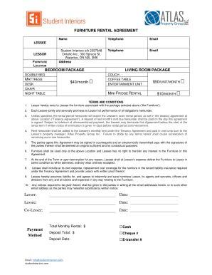 printable desk rental agreement forms  templates