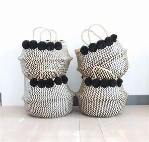 Panier A Pompon : grand panier boule naturel et noir zig zag pompons noirs le joli shop ~ Teatrodelosmanantiales.com Idées de Décoration