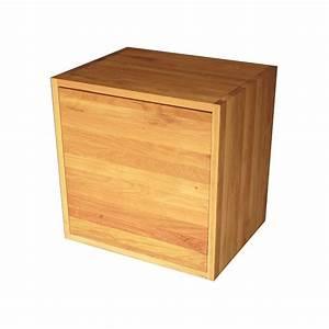Cube En Bois Rangement : cube de rangement avec tag re et porte en bois de ch ne massif huil ~ Melissatoandfro.com Idées de Décoration