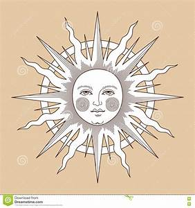 White vintage sun stock vector. Image of white, woodcut ...