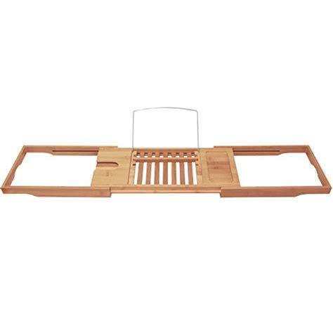 bamboo bathtub caddy organizer rack reading book stand