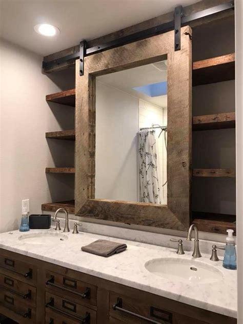 bathroom  barn door rolling mirror shelving
