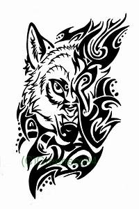 Tribal wolf tattoo design