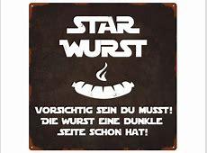 20x20cm METALLSCHILD Türschild STAR WURST Grillen Spruch