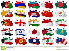 Asia Countries Flag Blots Part 1 Stock Illustration