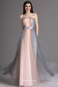 Unique multicolor strapless a line floor length prom dress for Prom wedding dresses