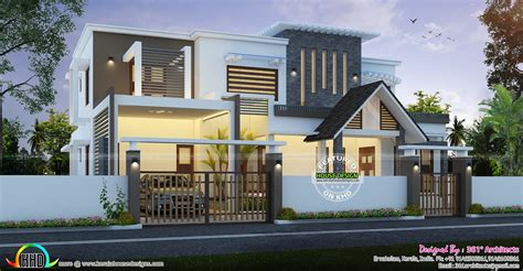 Contemporary And European Mix Home  Kerala Home Design