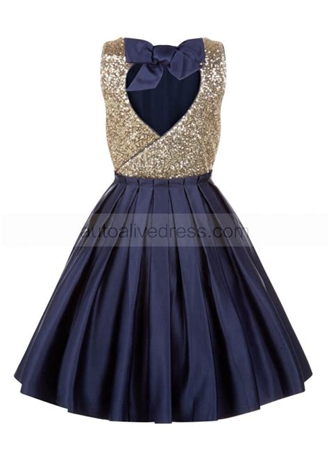 gold sequin navy satin backless wedding flower girl dress