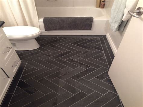Bathroom Gray Slate Herringbone Tiles Pictures