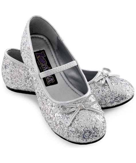 flat silver shoes silver sparkle ballerina flat shoes costume shoes