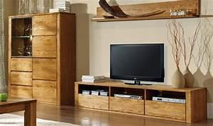 Meuble Tv Bois Massif Moderne : meuble tv en bois massif haut de gamme 3 tiroirs 3 niches ~ Teatrodelosmanantiales.com Idées de Décoration