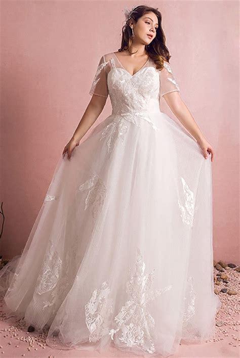 A Line V Neck Short Sleeve Tulle Lace Plus Size Wedding ...