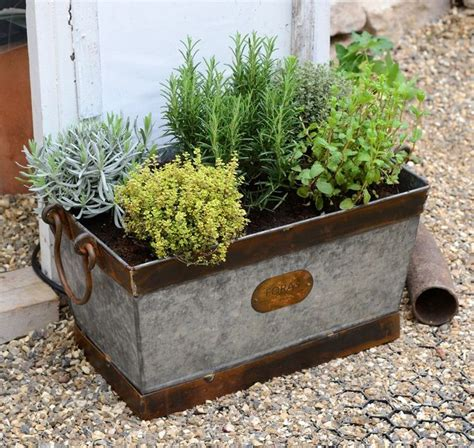 Window Seal Pots by Foras Galvanised Zinc Trough Planter Crabapple Brook