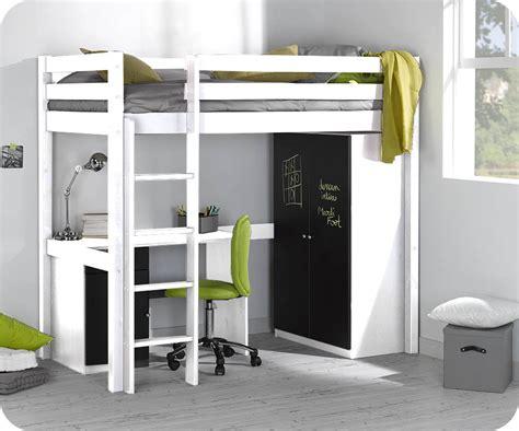 armoire chambre enfants lit enfant mezzanine cargo blanc 90x190 cm