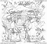 Coloring Window Winter Outline Asking Clipart Illustration Royalty Bannykh Alex Rf sketch template