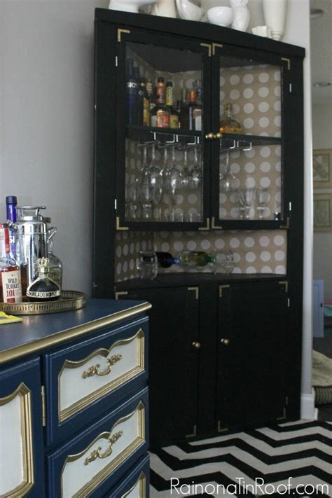 black corner bar cabinet 15 hutch update