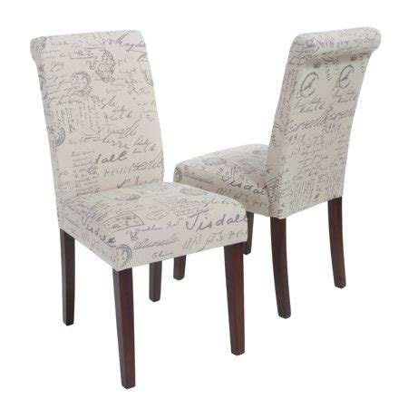french script linen dining chair set   beige printed walmartcom