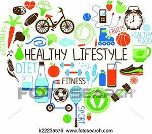 Clip Art of Healthy Lifestyle Diet and Fitness Heart sign ...