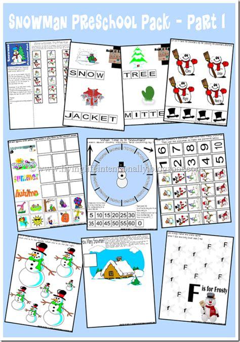 snowman preschool printable pack