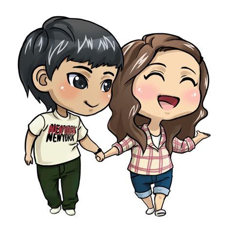 anime chibi kawaii love chibi couple cute happy love together brunette