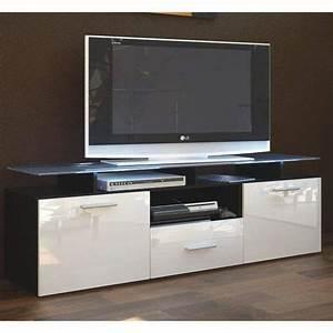 Meuble Tele Avec Rangement : meuble tv noir blanc avec 7 espaces de rangement achat vente meuble tv meuble tv noir blanc ~ Teatrodelosmanantiales.com Idées de Décoration