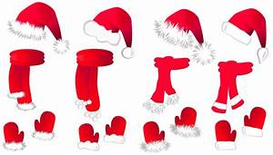 Transparent christmas santa hat and scarfsllection clipart ...
