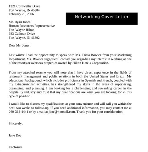 networking email template 17 cover letter exles free premium templates