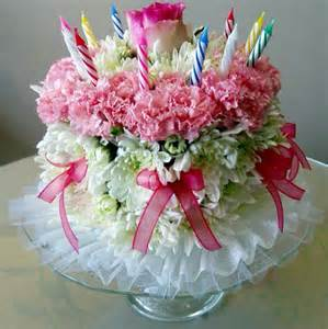 Happy Birthday Cake with Flowers