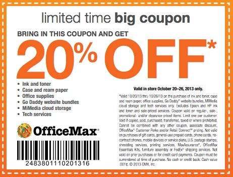 Office Depot Coupons For Printer by Officemax Coupon 20 Entire Purchase In Store And