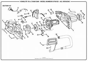 Homelite Ut43123 16 In  Electric Chain Saw Parts Diagram