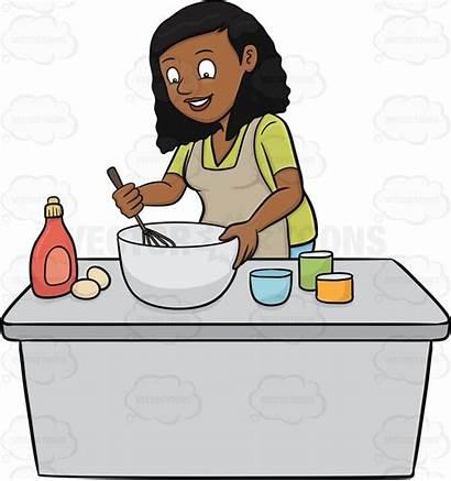 Clipart Woman Mixing Cake Cooking Baking Batter