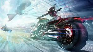 Girl, On, A, Motorcycle, Digital, Art, Images, Hd, Wallpapers, For, Mobile, Phones, And, Laptops
