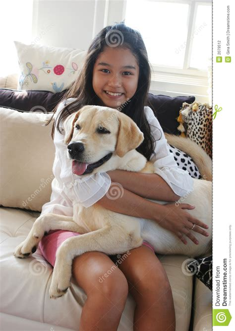 happy asian girl   pet dog stock photography