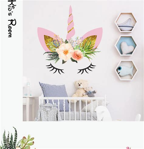 unicorn head horse color wall stickers  kids rooms