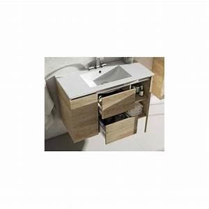 meuble suspendu sous vasque etnyc 2 tiroirs et 2 portes With meuble sous vasque suspendu