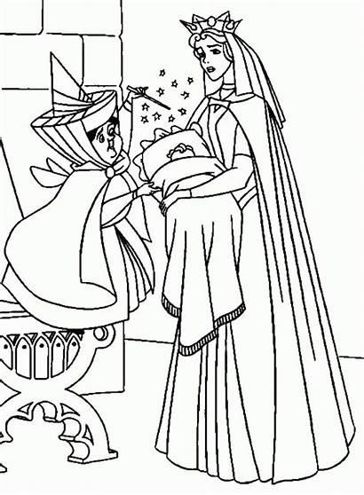 Coloring Beauty Aurora Sleeping Pages Princess Printable