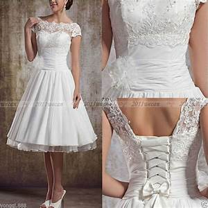2016 stock new white ivory lace short wedding dress bridal With ebay wedding dresses size 18