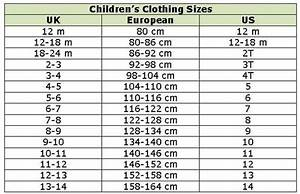 Aden And Anais Size Chart Children 39 S Clothing Conversion Chart Work Ideas
