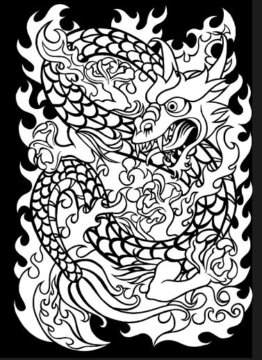 Japanese Tattoo Art Stained Glass Coloring Book, Dover Publications. | Blank coloring pages