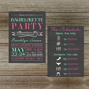 chalkboard bachelorette party invitation with schedule two With 2 sided photo wedding invitations