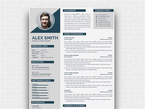 modern curriculum vitae template  andy khan  dribbble