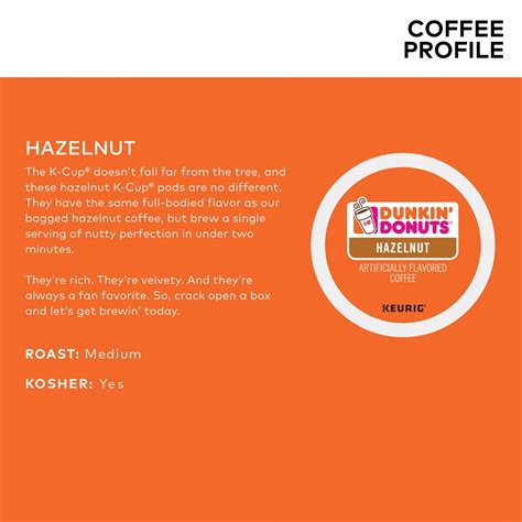 4.3 out of 5 stars with 127 ratings. Dunkin' Donuts Hazelnut Coffee Keurig K-Cup Pods 22-Count | MrOrganic Store