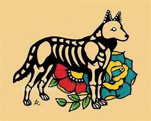 Day of the Dead Dog GERMAN SHEPHERD Dia de los Muertos Art