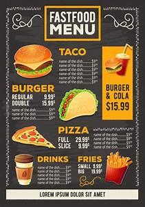 Vector cartoon illustration of a design fast food restaurant menu Vector Free Download