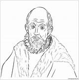 Self Portrait Coloring Greco El Pages Joel Prophet Printable Coloringpagesonly sketch template